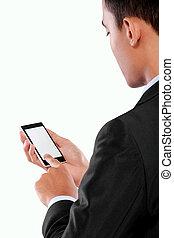 uomo affari, tenere mobile, far male, telefono, con, schermo vuoto