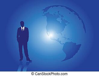 uomo affari, terra