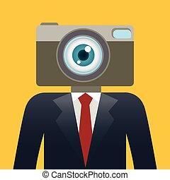 uomo affari, testa, macchina fotografica