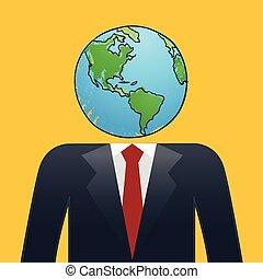 uomo affari, testa, mappa terra