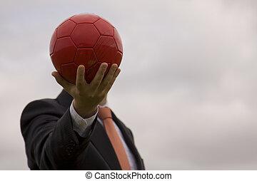 uomo affari, testa, palla