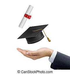 uomo affari, titolo portafoglio mano, uno, graduazione, cappello, e, diploma