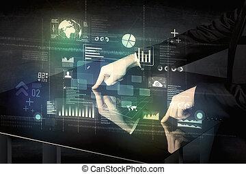 uomo affari, toccante, interattivo, moderno, scrivania, con, icone tecnologia