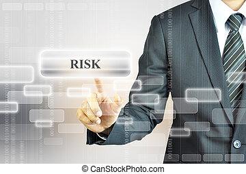 uomo affari, toccante, rischio, segno
