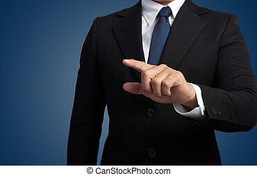 uomo affari, toccante, un, immaginario, schermo
