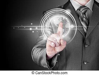 uomo affari, tocco, mappa mondo, e, collegamento