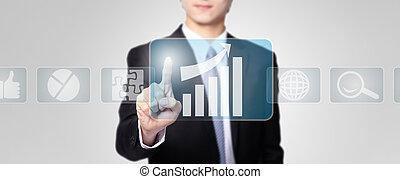 uomo affari, tocco, tutto, generi, di, icona
