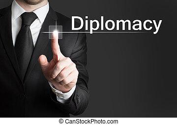 uomo affari, touchscreen, diplomazia