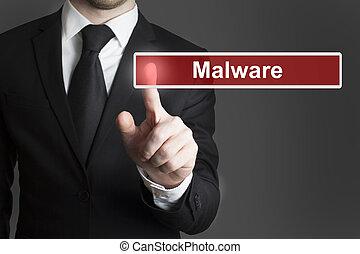 uomo affari, touchscreen, malware