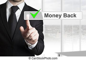 uomo affari, touchscreen, urgente, indietro, soldi