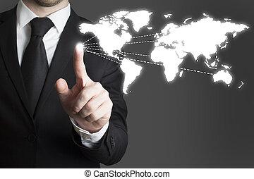 uomo affari, touchscreen, urgente, worldmap