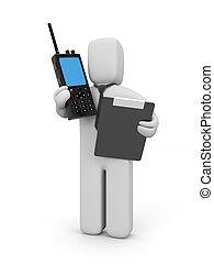 uomo affari, trasmettitore, radio, portatile