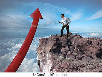 uomo affari, tries, statistica, aumento