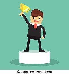 uomo affari, trophy., felice, presa a terra, vincente