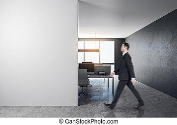 uomo affari, ufficio, copyspace