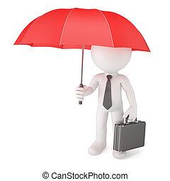 uomo affari, umbrella., concetto, sicurezza