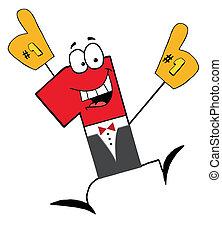uomo affari, uno, cartone animato, numero