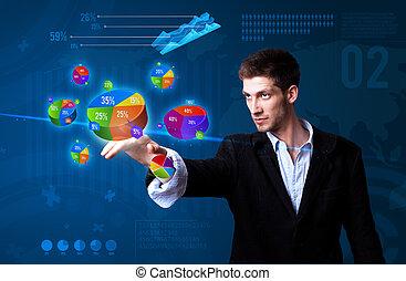 uomo affari, urgente, settori, bottone