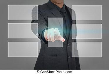 uomo affari, urgente, touchscreen