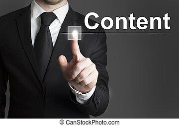 uomo affari, urgente, touchscreen, contenuto