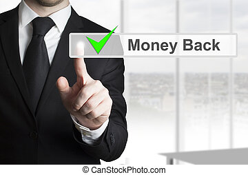 uomo affari, urgente, touchscreen, soldi, indietro