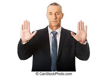 uomo affari, urgente, un, astratto, touchscreen