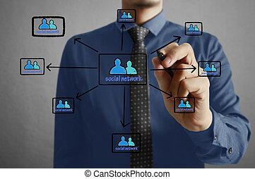 uomo affari, urgente, uno, touchscreen, bottone