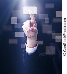 uomo affari, urgente, uno, touchscreen, bottone, su, sfondo scuro