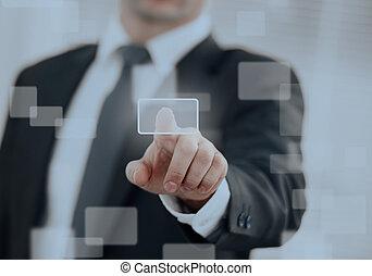 uomo affari, urgente, uno, touchscreen, button.
