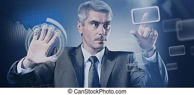 uomo affari, urgente, uno, virtuale, bottone