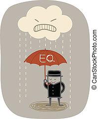 uomo affari, uso, eq, ombrello, proteggere, da, arrabbiato,...