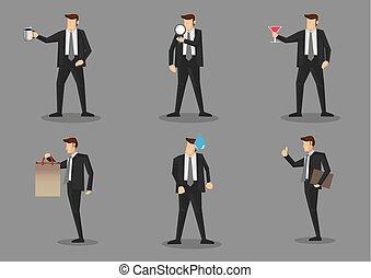 uomo affari, vettore, caratteri, puntelli