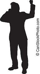 uomo affari, vettore, silhouette