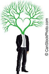 uomo affari, vettore, testa, albero