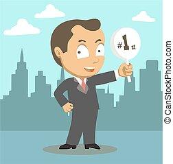 uomo affari, vincitore, cartone animato, successo