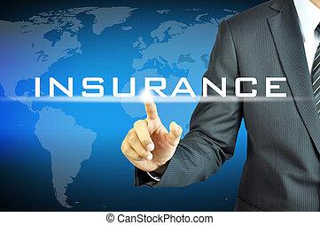 uomo affari, virtuale, schermo, segno, assicurazione, toccante