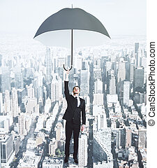 uomo affari volante, con, ombrello, a, megapolis, città, fondo