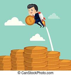 uomo affari, volare, moneta, jetpack