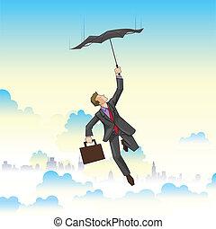 uomo affari, volare, ombrello