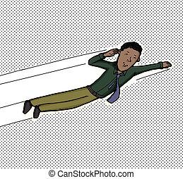 uomo affari, volare
