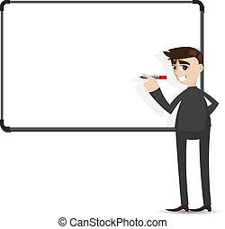 uomo affari, whiteboard, cartone animato, scrittura