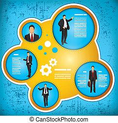 uomo affari, workflow, concetto