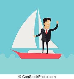 uomo affari, yacht, giovane, navigazione