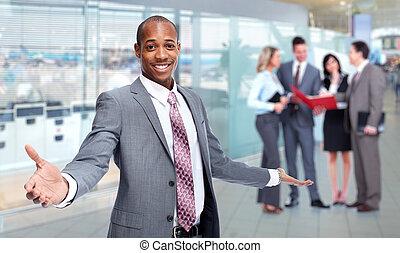 uomo africano-americano, e, affari, team.