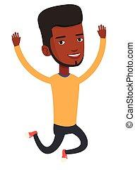 uomo africano-americano, jumping., giovane