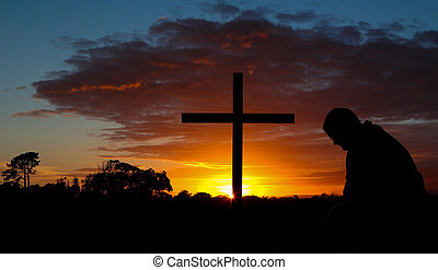 uomo, alba, preghiera