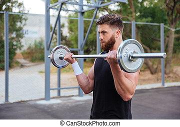 uomo, allenamento, bello, muscolare, barbell