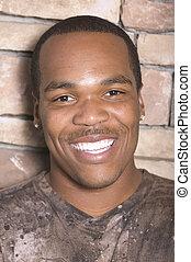 uomo, americano africano, giovane