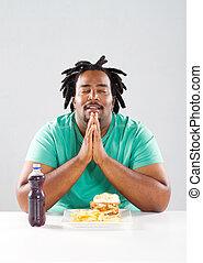 uomo, americano africano, pregare
