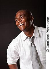 uomo, americano africano, ridere